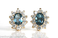 9ct Gold London Blue Topaz Cluster studs earrings Gift Boxed