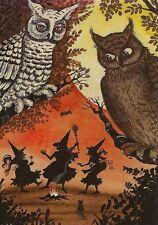 Aceo Halloween Print Of Painting Ryta Witch Owl Black Cat Moon Bat Folk Art