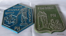 French vintage lot of 2 poultry plaques