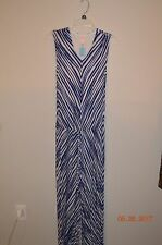 CHICO'S SIZE 1 BLUE & WHITE CHEVRON PRINT SLEEVELESS MAXI DRESS