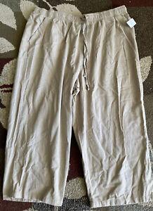 NWOT Basic Editions XL Womens Pants Beige Pull On Elastic Waist Pockets Capri