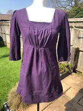 Ladies Joules Purple Microcord Tunic Dress with Yellow Zip - UK: 8