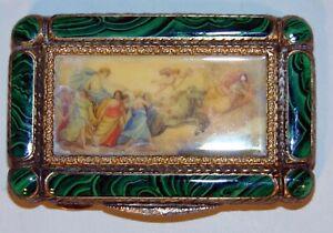 Antique Silver Malachite Compact Mirror Powder Box Chariot Muses Women