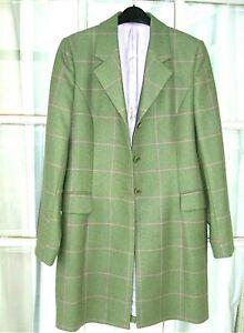 MAGEE Ladies PORTNOO Tweed Wool Coat 10 UK Green, pink check. rrp: over £450