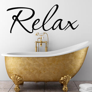Wall Stickers RELAX BATHROOM WALL QUOTE STICKERS Vinyl Wall Art Decal  N39