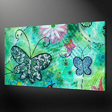 ABSTRACT BUTTERFLIES FLOWERS AQUA CANVAS WALL ART PRINT PICTURE READY TO HANG