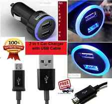 DOUBLE USB CAR CHARGER LED 12V FOR IPHONE ALL MODELS + MICRO USB CHARGING CABLE