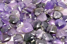 FREE wholesale 20pcs Heart natural Amethyst gemstone stone Silver P pendant Bead