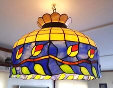 """Vintage Tiffany Style Multi Color Stained Glass Floral Hanging Light Lamp, 20"""" D"""