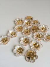 10 Pcs 18mm Sewing Clear Flower Rhinestone Buttons Acrylic Flatback Scrapbo(225)