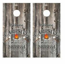 Welcome to Our Campsite Where Friends. Barnwood Cornhole Board Wraps #3326
