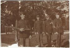 Four Men in Town Militia Stand with Rifles on Common Vintage Snapshot
