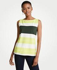 Ann Taylor Tank Top XS Blouse Knit Cami Striped Shell Shirt Green Yellow Neon