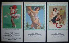 GIL ELVGREN Pin Up 3 Ads Calendars 1962 1966 Engineer Sales. Columbia SC. small