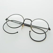 Round Lennon Small Spectacle Vintage Glasses w/ Cable Temples Black - LG Rudy