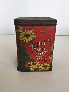 Vintage Tetley's India & Ceylon Tea Tin With Hinged Lid, Made In England