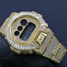 Yellow Gold Tone Custom Baguette Round Simulate Diamond G-Shock DW6900 Men Watch