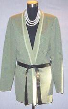 Plenair Sz L Knit Jacket Suit Dress Belt Black Green Open Front Boucle