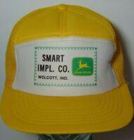 Vintage 1980s Wolcott Indiana John Deere Farm Mesh Trucker Hat Snapback Hat Cap