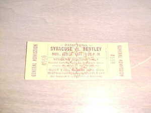 1977 Syracuse Orange v Bentley Falcons Full Basketball Ticket 2/7
