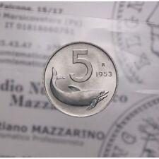 """5 Lire 1953 """"Delfino"""" (Repubblica Italiana) FDC LOT1797"""