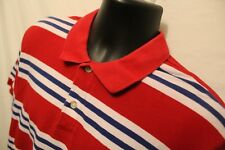 Ralph Lauren Chaps Men's Polo Rugby S/S Shirt L Red Stripe 100% Cotton Golf