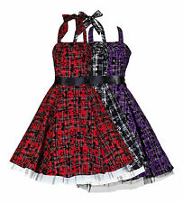 Tartan Flocked Halterneck Dress Alternative Punk Goth BNWT