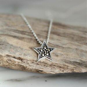 GIGI DESIGNS Sterling Silver 925 Marcasite 12mm Star Pendant & 40cm Necklace