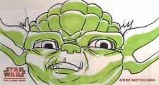 Star Wars Clone Wars Widevision Sketch Card by Juan Carlos Ramos of Yoda