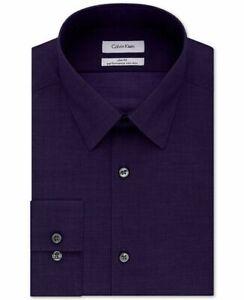 Calvin Klein Steel Slim Fit Performance Herringbone Dress Shirt Large 16 32-33