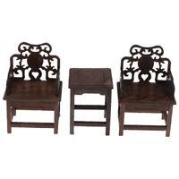 Mini Traditional Dollhouse Furniture Set 1 Table 2 Armchairs 1/6 Dollhouse A