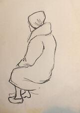 VINTAGE OLD WOMAN PORTRAIT PASTEL PAINTING