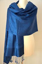 Pashmina Schal Tuch Stola Paisley gewebt 100% Viskose Blau ca.184x72cm