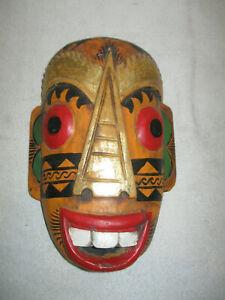 "12"" Painted Wooden Handmade Tribal Mask Sculpture Wood Carving, Wall Decor Art"