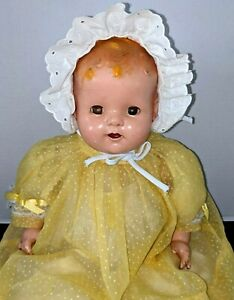 """Vintage 22"""" Unmarked Composition Doll Flirty Eyes yellow sheer swiss dot dress"""