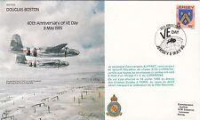 Error B34 40th Anniv VE - Day Error Green Flown Mirage cachet & 15p Stamp