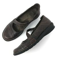Clarks Bendables Womens Mary Jane Loafer Sz 7.5 M Brown Leather Comfort Shoes