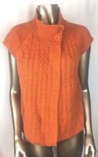 Christopher & Banks Small Sweater Short Sleeved Orange Fall 2 Button A3
