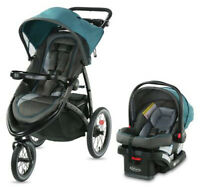 Graco FastAction Jogger LX Travel System Stroller w/ SnugRide 30 Car Seat Seaton