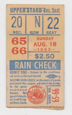 August 18 1963 Dodgers at Mets ticket stub Polo Grounds