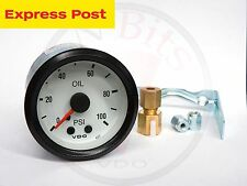 VDO 52mm WHITE/BLACK 100 PSI MECHANICAL OIL OR AIR PRESSURE GAUGE