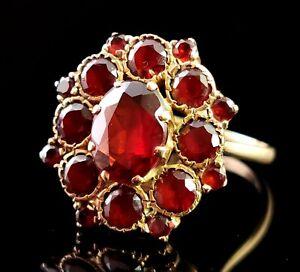 Vintage Garnet cluster ring, 9ct yellow gold, statement ring, 1960s