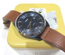 Fossil FS5422 Mathis Brown Leather Band Blue Steel 44mm Case Watch NWT $125