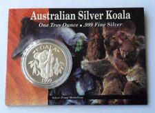 1999 UNC $1 AUSTRALIAN KOALA 1oz SILVER COIN ON CARD