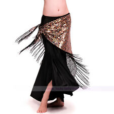 New Belly Dance Peacock Sequins Hip Scarf Belt Tribal Triangle Shawl gold color