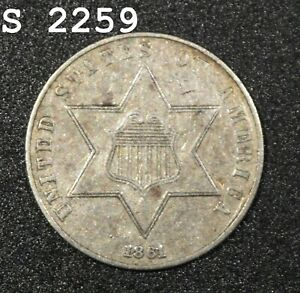 """1861 *Medal Alignment* Three-Cent Piece (Trime) """"XF/AU"""" *Free S/H After 1st Item"""