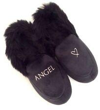 VICTORIA'S SECRET Velvet Faux Fur Black Angel Logo SlideS Slippers M (7-8) Luxe