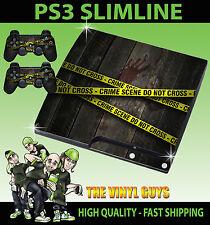 PLAYSTATION 3 SLIM PS3 SLIM CRIME SCENE POLICE TAPE STICKER SKIN & 2 PAD SKINS