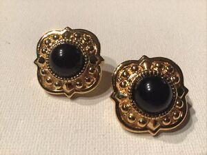 Vintage Rare Signed MONET Jewelry Pierced Earrings 22K Gold plated Black Acrylic