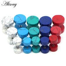 1pc Organic Turquoise Stone Fake Cheater Ear Studs Gauge Illusion Plug 5 colors